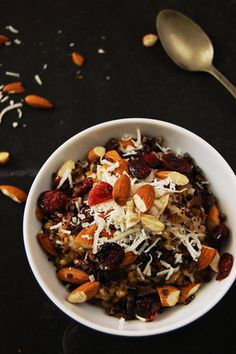 Warm Farro and Barley Porridge with Coconut and Almonds