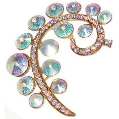 "1.75 X 2.5"" Swirl Pin with Crystal Ab Stones In Aurora Borealis with Gold Finish . $14.99"