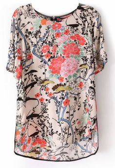 Love it. Just a reminder... The Beige Short Sleeve Floral Print Zip Back Blouse from sheinside.com.
