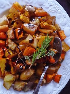 Root vegetables shine when roasted and this balsamic glaze gives a bit of gloss and deeper flavor. Use whatever root veggies you can find in fall and winter, adding carrots, yams or beets for color. Always make plenty so that you have leftovers. more