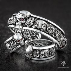 That was one tough trip, but we're finally here at Biketoberfest—Find us at the Destination Daytona Complex, right outside Bruce Rossmeyer's Daytona Harley-Davidson at the & Hwy Come check out what's new and catch up with the gang. Skull Wedding Ring, Skull Engagement Ring, Wedding Jewelry, Wedding Rings, Skull Jewelry, Gothic Jewelry, Jewelry Art, Mens Skull Rings, Silver Skull Ring
