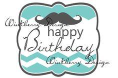 Mustache Chevron Happy Birthday Cupcake Topper by WinkberryDesign, $4.50