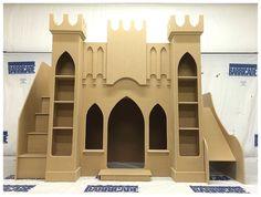 Girls Princess Castle Bed playhouse theme kids bunk loft bed twin size unpainted #UniqueKidBedscom