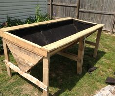 Raised Planter Bed from Pallets - Instructables Hochbeet von Paletten - Instructables Elevated Garden Beds, Raised Garden Bed Plans, Raised Planter Beds, Building A Raised Garden, Raised Beds, Planter Garden, Privacy Planter, Planter Table, Garden Boxes