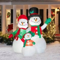inflatable snow family decoration christmas lawn decorations decorating with christmas lights snowman decorations