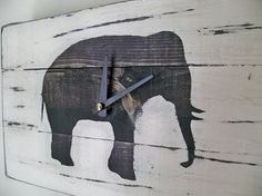 Heavily Distressed Elephant Wood Wall ClockBlack or White by Thula, $49.00
