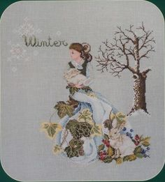 0 point de croix femme et lapins hiver - cross stitch girl and bunnies in winter