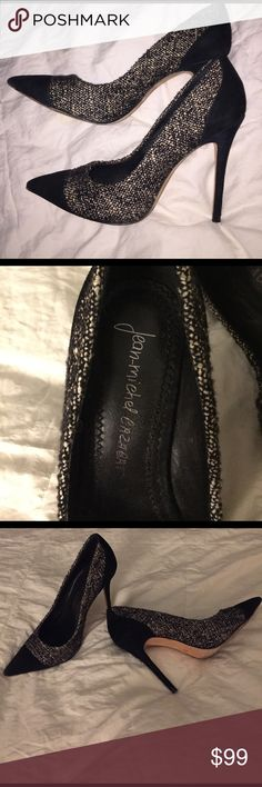 JeanMichel Cazabat heels. Tweed w Lurex Size 7. Tweed with Lurex thread. 4 inch heel aprox. Sold out everywhere fast. Was a little tight at widest part of foot - I have a very wide fore foot. For anyone normal width it would be great. Black suede caps them off w a serious edge. Sexy and classy versatile shoe. Goes with everything. Worn them twice. Extremely Minimal signs of wear around shoe. I can't see any scuffs visible without a flash and still hard pressed to see any flaws. Sole is…