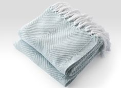 Cotton Herringbone Throw in White/Surf