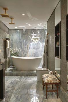 Gorgeous bath, marble, tub, fixture - love this!