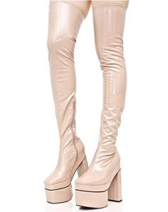 Nude Belladonna Thigh-High Boots