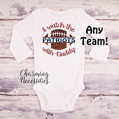 I Watch Football With Daddy Long Sleeve Football Daughter Shirt, Baby Girl Football Toddler Newborn, Patriots Eagles Cowboys Raiders Seahawks Redskins You Choose Team Name NFL SEC College - Charming Necessities Girl Football, Watch Football, Football Outfits, Sport Outfits, Patriots Team, S Girls, Toddler Girls, Long Sleeve Bodysuit