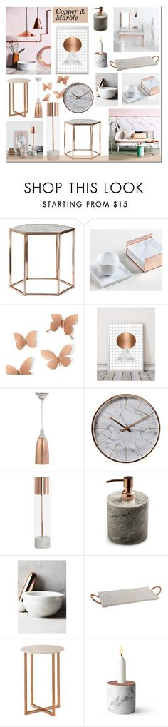 """""""Copper & Marble"""" by anyasdesigns ❤ liked on Polyvore featuring interior, interiors, interior design, home, home decor, interior decorating, Umbra, Holly's House, Therapy and Nordstjerne #homedecoraccessories"""