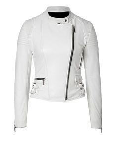 Womens Fashion Genuine Leather Jacket White Sine Pulp