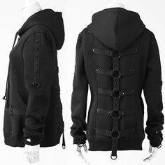 Cool Black Hooded Steam Punk Gothic Hoodies Sweatshirt Clothing Store SKU-11401420