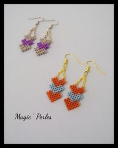Boucles d'oreilles collection automne  -Earrings hama beads by Magic Perles on ALittleMarket