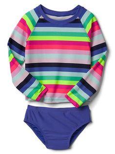 Multi Stripe swimsuit 3T