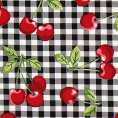 black gingham cherry fabric Robert Kaufman 1