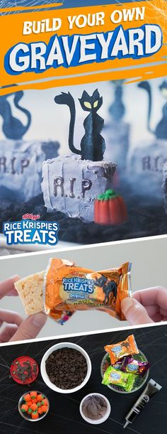 Looking for a snack that's got boo and chew? These easy to make spooky Rice Krispies Treats #Halloween scenes taste as good as they look! Ingredients:  - Rice Krispies Treats - Gray frosting (Or mix white and a small amount of black) - Black decorating icing - Crushed chocolate sandwich cookies
