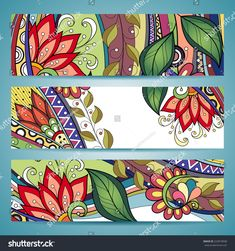 Find Vector Set Floral Banner Place Text stock images in HD and millions of other royalty-free stock photos, illustrations and vectors in the Shutterstock collection. Mandala Art, Mandala Painting, Mandala Drawing, Mandala Design, Colorful Drawings, Art Drawings, Adult Art Classes, Composition Painting, Doodle Paint