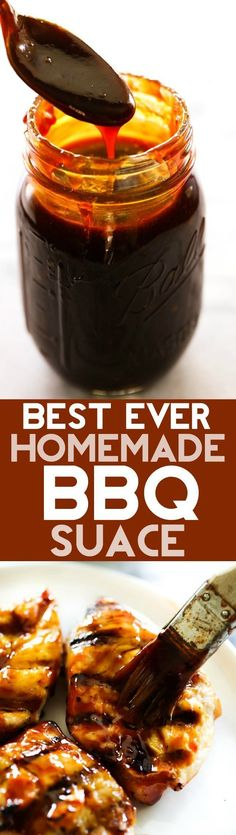 BEST EVER Homemade BBQ Sauce. This will be THE BEST BBQ Sauce you ever have! It is deliciously sweet and tangy with a flavor that can't be beat and is super easy to make! Made it is the best go to. Grilling Recipes, Cooking Recipes, Smoker Recipes, Rib Recipes, Cooking Tips, Salad Recipes, Recipies, Sauce Barbecue, Bbq Sauces