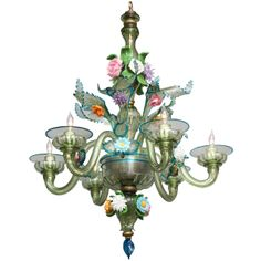 A Six Light Italian Murano Glass Chandelier | From a unique collection of antique and modern chandeliers and pendants  at http://www.1stdibs.com/furniture/lighting/chandeliers-pendant-lights/