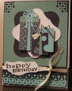 Used birthday bash cricut cartridge , added ribbon, scrappy cat stamps..and wala a birthday card for my father in law.
