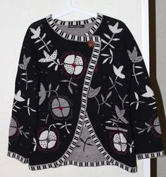 Gorgeous Gudrun Sjoden Cardigan Floral Pattern Pocket Size S 90 % Lambswool #GudrunSjoden #Cardigan