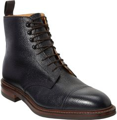 Navy Leather Boots by Crockett Jones. Buy for $715 from Barneys New York