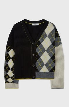 Pringle of Scotland - Patchwork Argyle & Solid V Neck Cardigan - cream/grey/Black/yellow V Neck Cardigan, Knit Cardigan, Knit Fashion, Fashion Outfits, Knit Vest Pattern, Knitting Designs, Aesthetic Clothes, Refashion, Knitwear