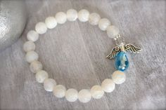 Angel Charm Bracelet natural white dragon vein agate beads