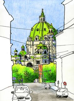 Sketches of Vienna, Europe travel art