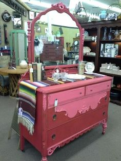 $350 - Ornate antique dresser with mirror painted pink and red, distressed and finished with a hand applied wax. **** In Booth D1 at Main Street Antique Mall 7260 E Main St (east of Power RD on MAIN STREET) Mesa Az 85207 **** Open 7 days a week 10:00AM-5:30PM **** Call for more information 480 924 1122 **** We Accept cash, debit, VISA, Mastercard, Discover or American