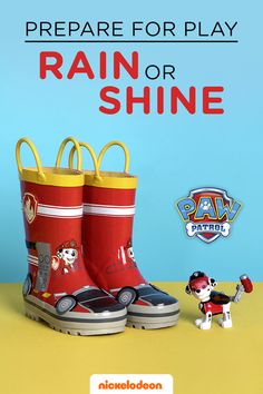 We know rainy days stuck inside can be daunting.  But the pups are prepared for every mission and you and your preschooler can be too! Be sure to purchase stylish rain gear like PAW Patrol red rain boots featuring Marshall so kids can splash around in puddles.