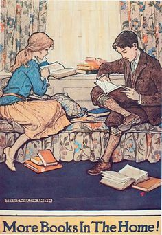 Book Week poster from designed by children's illustrator Jessie Willcox Smith via womenreading Posters Vintage, Retro Poster, I Love Books, Good Books, Books To Read, Reading Art, Woman Reading, Reading Books, Jessie Willcox Smith