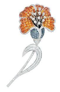 Multi-colored Sapphire and Diamond Brooch