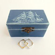 Wedding Navy Blue Ring Bearer Box / Pillow, Dark Blue Wooden Box, Pillow…
