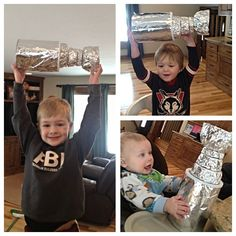 The Boys DIY Hockey Valentines Box Craft Project. Stanley Cup Valentine Boxes made from empty formula containers-recyclables and Tin Foil. We used hot glue to connect the small containers and modge podge to keep the foil intact. SCORE!!