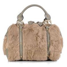 2aec424b073 Gucci Light Khaki Rabbit Fur Interlocking Boston Bag