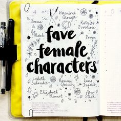 Journal page idea: list your  favorite female fictional characters