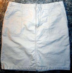 American Eagle Khaki Knee Length Skirt, Back Slit, Front Pockets, Size 6, Cotton…