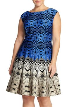 Gabby Skye Colorblock Print Fit & Flare Dress (Plus Size) available at #Nordstrom