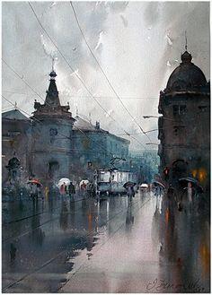 Dusan Djukaric     Watercolor, 41x58 cm