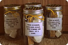 This is easy and endearing. Great teacher, neighbor, or hostess gift. S'mores in a Jar-An easy and useful summer gift idea