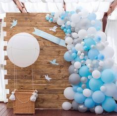 Baby shower boy ideas theme air balloon new ideas Baby Shower Balloons, Baby Shower Parties, Baby Shower Themes, Baby Boy Shower, Shower Ideas, Backdrop Decorations, Balloon Decorations, Balloon Backdrop, Air Balloon