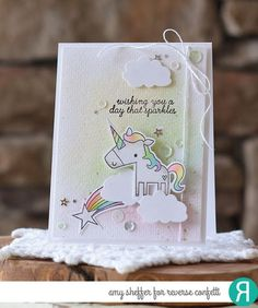Card by Amy Sheffer Reverse Confetti stamp set: Unicorn Wishes. Confetti Cuts: Unicorn Wishes and Sun 'n Clouds.   Beautiful Cases For Girls