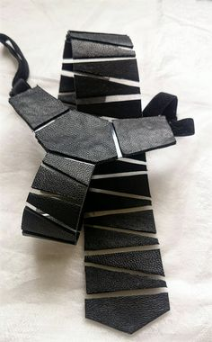 Leather triangle-striped mens necktie high quality by Shlippy