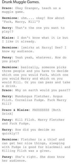 Harry Potter characters playing Fuck, Marry, Kill<< am I the only one that ships Hermione and Pansy? Harry Potter Puns, Images Harry Potter, Harry Potter Marauders, Harry Potter Universal, Harry Potter World, Harry Potter Characters, Slytherin, Hogwarts, Drarry