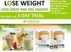 Herbalife 3 day trial from Herbal Energy For You.  Only available in the UK, great introduction to Herbalife weightloss programmes.  Try for 3 days (6 meals) and feel the difference. Order from my website http://www.herbalenergyforyou.co.uk/herbalife-programmes/trial-pack