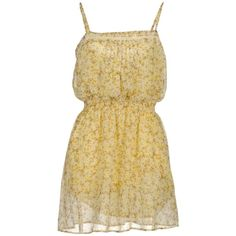 Guess Short Dress ($49) ❤ liked on Polyvore featuring dresses, vestidos, yellow dresses, robes, light yellow, ruffle dress, pleated mini dress, floral sleeveless dress, short dresses and yellow mini dress
